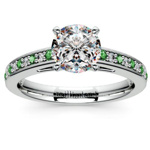Cathedral Diamond & Emerald Gemstone Engagement Ring in Platinum ...