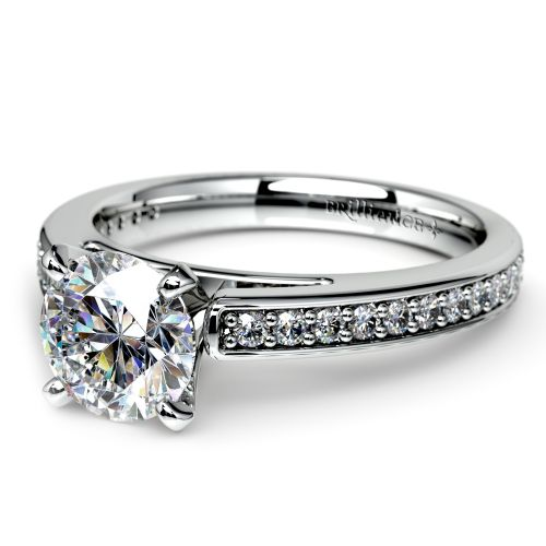 Cathedral Diamond Preset Engagement Ring In White Gold 1 1 2 Ctw