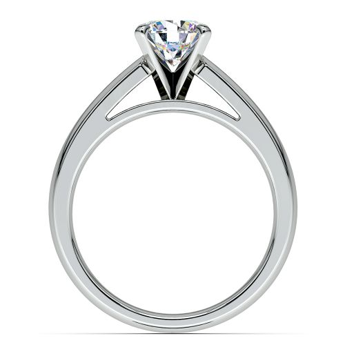Cathedral Solitaire Engagement Ring in White Gold 4mm
