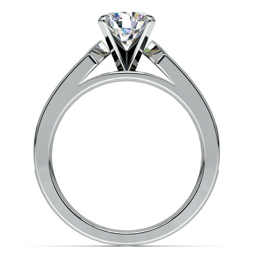Channel Diamond Engagement Ring in White Gold 1 ctw