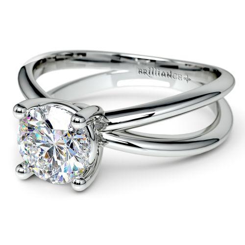 cross split shank solitaire engagement ring in white gold
