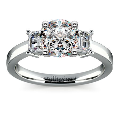 Emerald Diamond Engagement Ring in White Gold