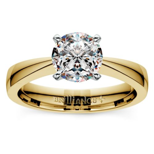 Flat Taper Solitaire Engagement Ring in Yellow Gold   Brilliance.com Top Ten Engagement Rings #8
