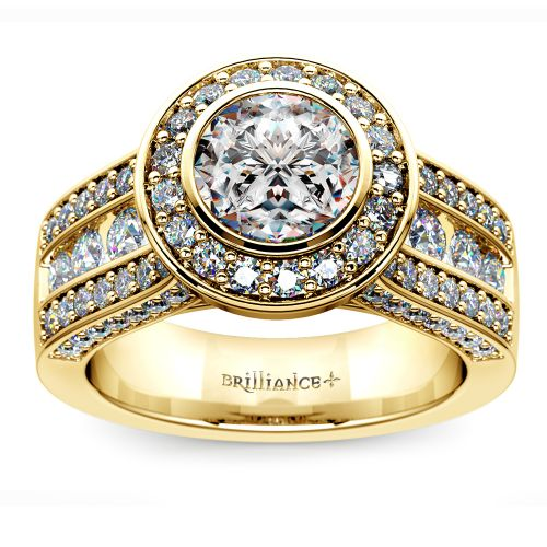 Halo Bezel Diamond Engagement Ring In Yellow Gold Image 01