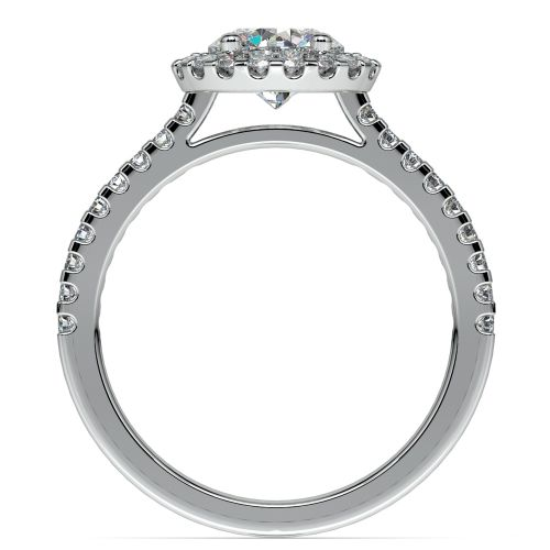 Halo Diamond Preset Engagement Ring in White Gold 3 4 ctw