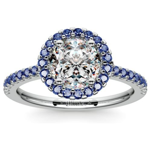Halo Sapphire Gemstone Engagement Ring with Side Stones in White Gold