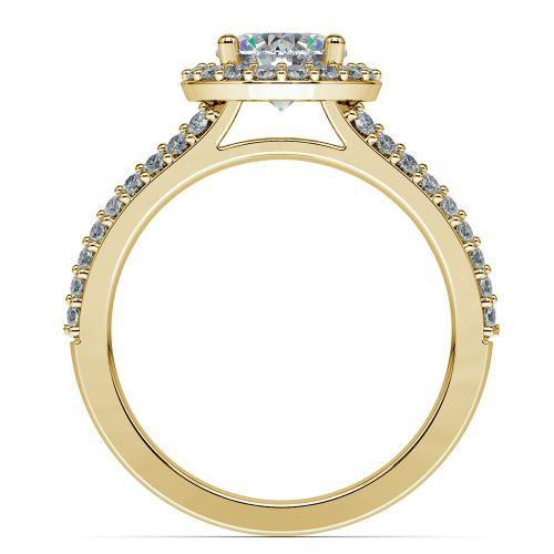 Halo Split Shank Diamond Engagement Ring in Yellow Gold | Image 02