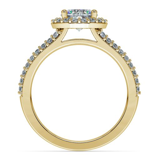Halo Split Shank Diamond Engagement Ring in Yellow Gold | Image 02