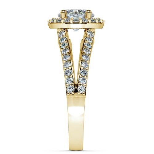 Halo Split Shank Diamond Engagement Ring in Yellow Gold | Image 03