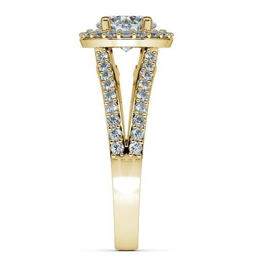 Halo Split Shank Diamond Engagement Ring in Yellow Gold | Image 03