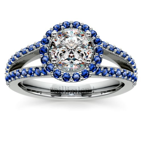 Halo Split Shank Sapphire Gemstone Engagement Ring in White Gold