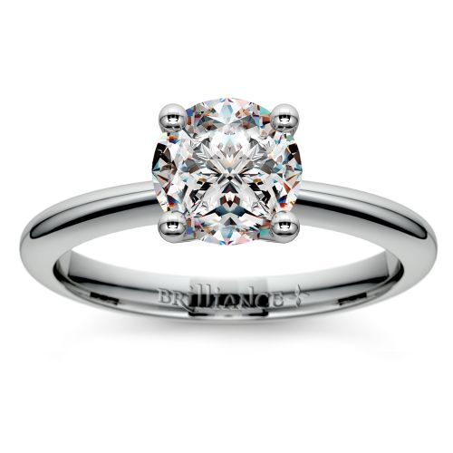 Knife Edge Solitaire Engagement Ring in Palladium | Image 01