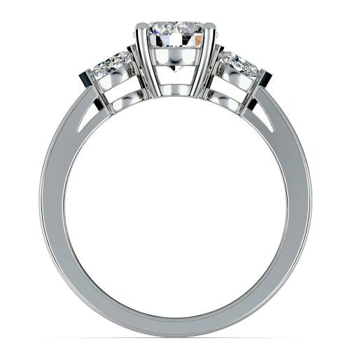 Marquise Diamond Engagement Ring in White Gold 1 4 ctw