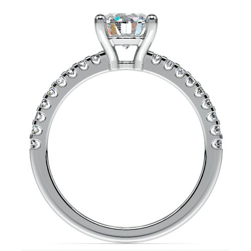 Pave Diamond Preset Engagement Ring in White Gold 1 2 ctw