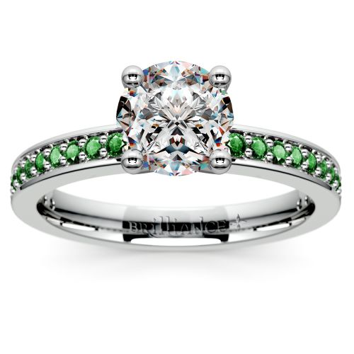 pave emerald gemstone engagement ring in platinum