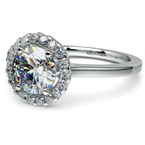 Pave Halo Diamond Engagement Ring In Platinum Image 04