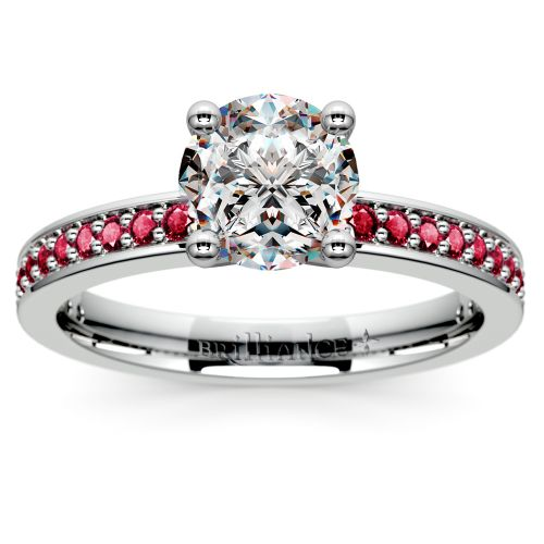 Pave Ruby Gemstone Engagement Ring in White Gold | Image 01 ...