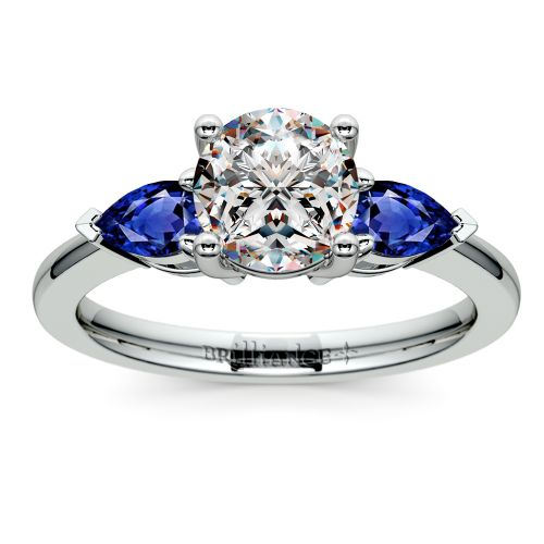 pear sapphire gemstone engagement ring in white gold