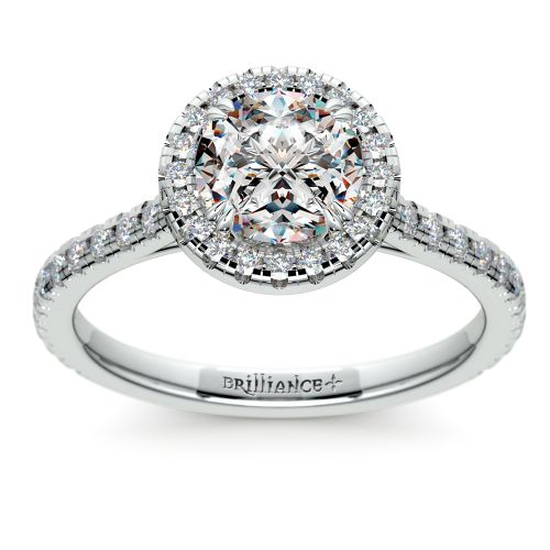 Petite Halo Diamond Engagement Ring in White Gold | Brilliance.com Top Ten Engagement Rings #9