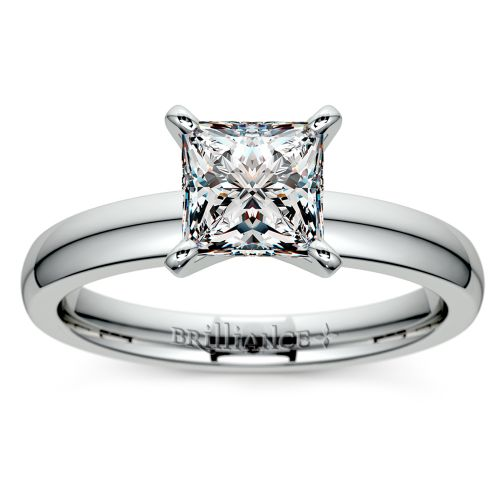 Princess Diamond Preset Engagement Ring in White Gold 1 ctw