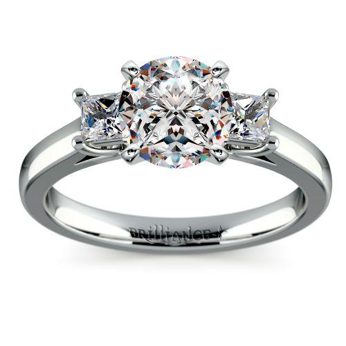 Princess Trellis Diamond Engagement Ring in White Gold 1 3 ctw