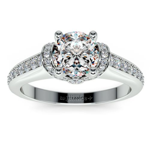 ribbon engagement ring with diamonds in