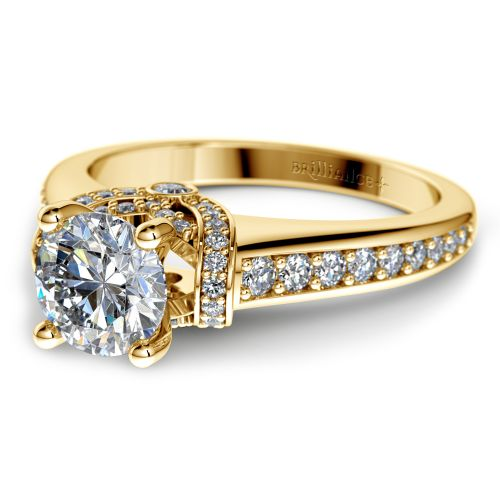 Ribbon Diamond Engagement Ring with Surprise Diamonds in Yellow Gold