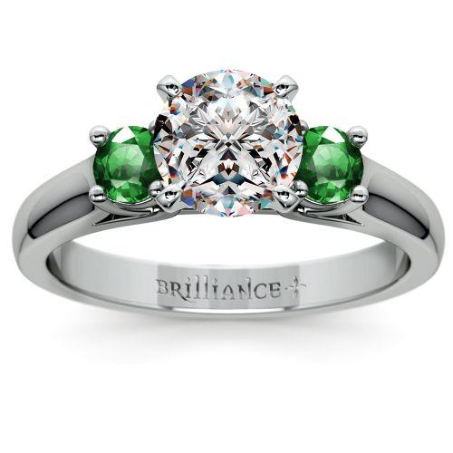 emerald gemstone engagement ring in platinum