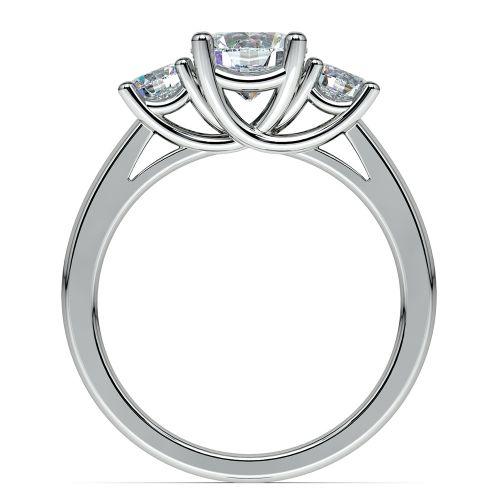 Round Three Diamond Preset Engagement Ring in White Gold 1 1 2 ctw