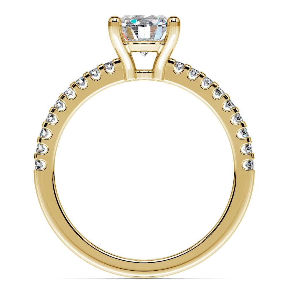 Scallop Diamond Engagement Ring in Yellow Gold (1/5 ctw)   Image 02