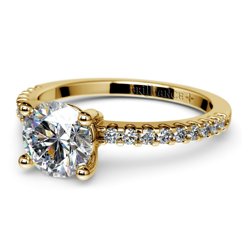 Scallop Diamond Engagement Ring in Yellow Gold (1/5 ctw) | Image 04