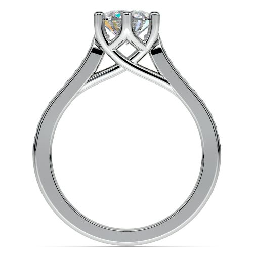 Six Prong Channel Diamond Engagement Ring In White Gold