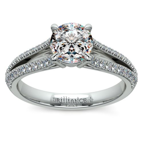 split shank diamond engagement ring in platinum
