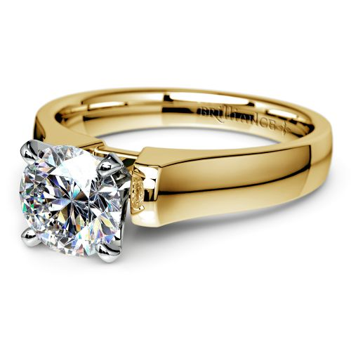 Square Contour Solitaire Engagement Ring in Yellow Gold