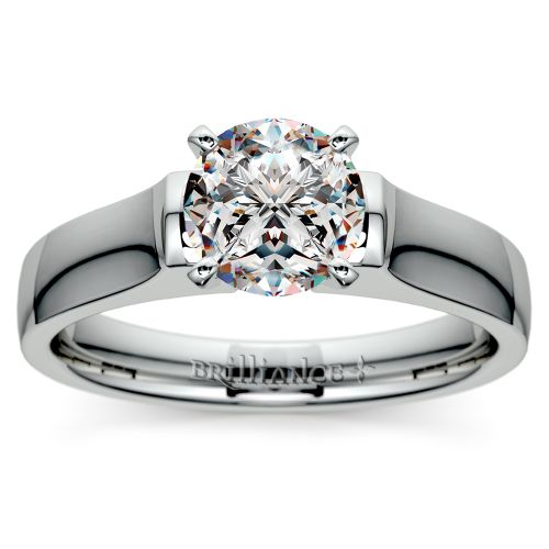 Square Contour Solitaire Engagement Ring in Platinum