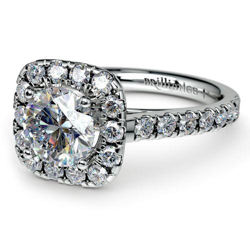 Square Halo Diamond Engagement Ring in Platinum 1 2 ctw