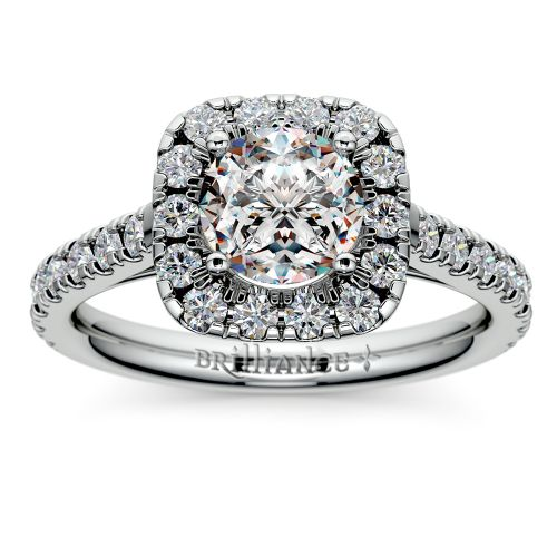 Square Halo Diamond Engagement Ring in White Gold 1 2 ctw