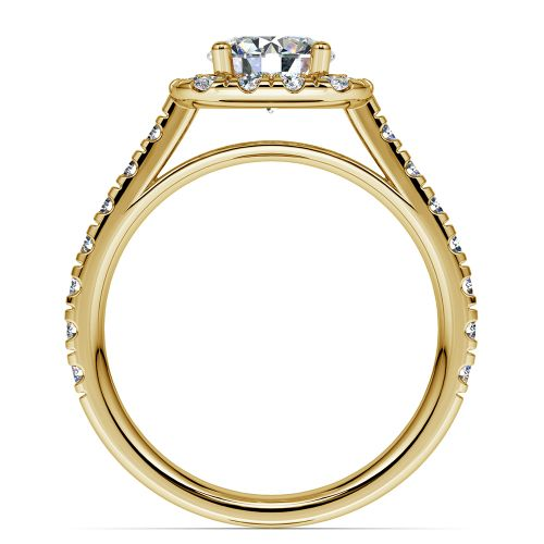 Square Halo Diamond Engagement Ring in Yellow Gold 1 2 ctw