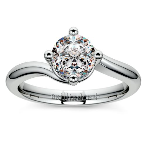 swirl style solitaire engagement ring in palladium image 01