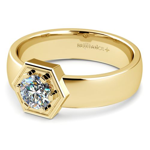 Talos Solitaire Mangagement Ring In Yellow Gold 3 4 Ctw