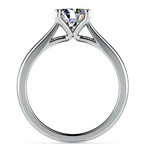 Taper Solitaire Engagement Ring in White Gold
