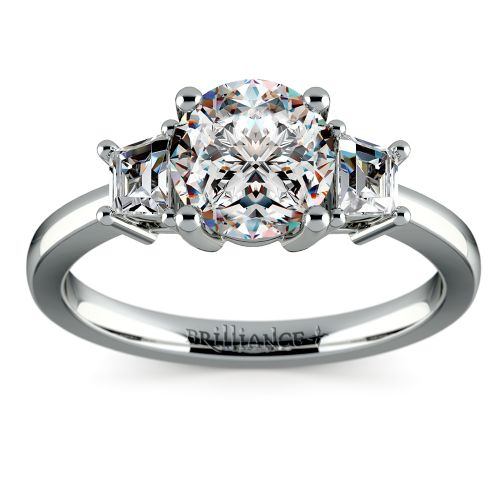 Trapezoid Diamond Engagement Ring in White Gold 1 3 ctw