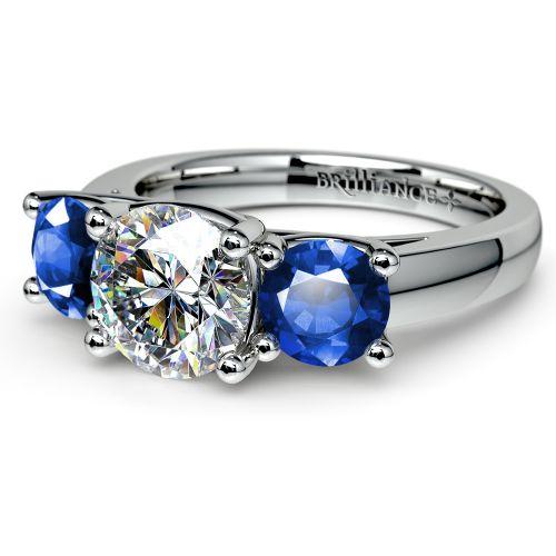 trellis three sapphire gemstone engagement ring in white gold