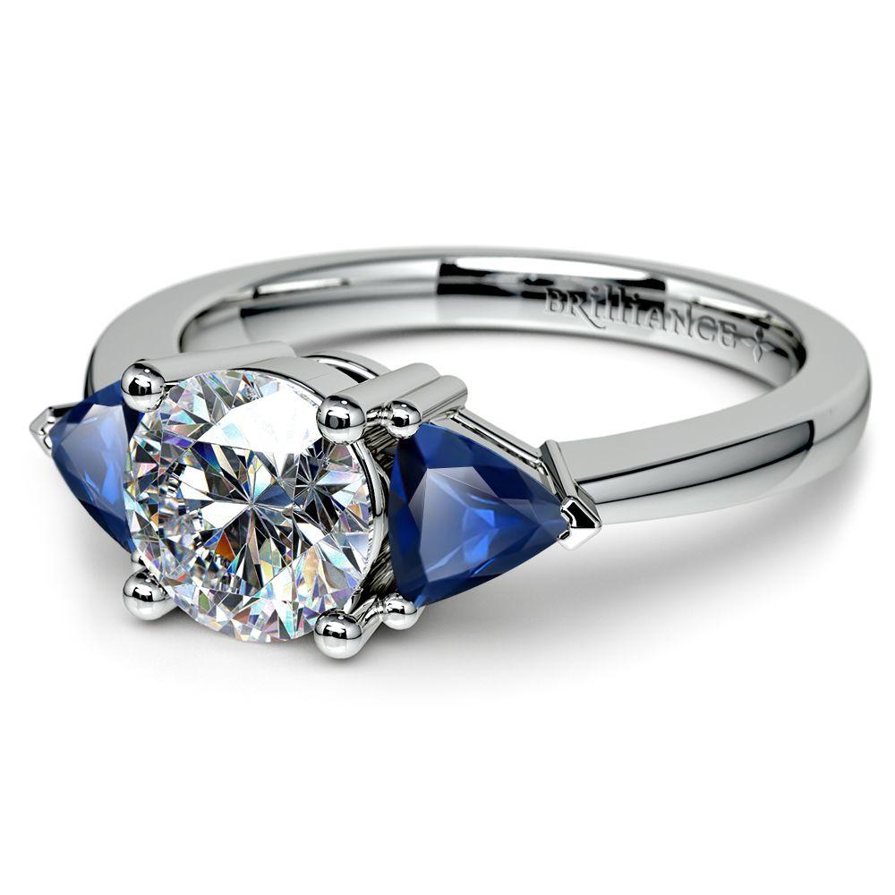 trillion sapphire gemstone engagement ring in platinum