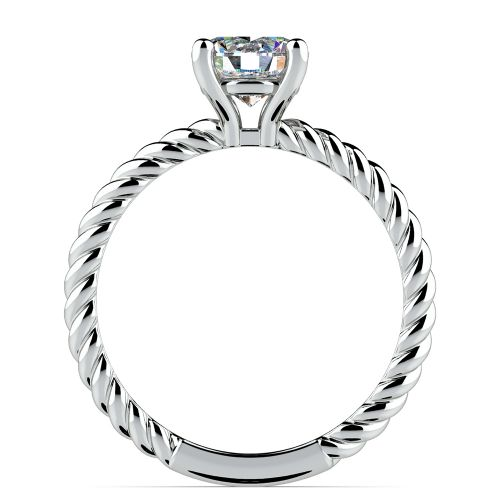 Twisted Rope Solitaire Engagement Ring in White Gold | Image 02