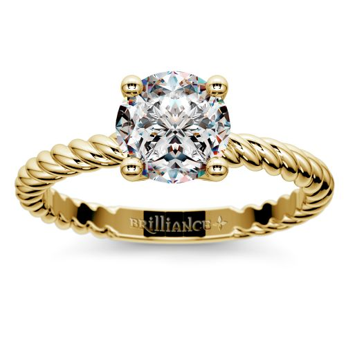 Twisted Rope Solitaire Engagement Ring in Yellow Gold   Image 01