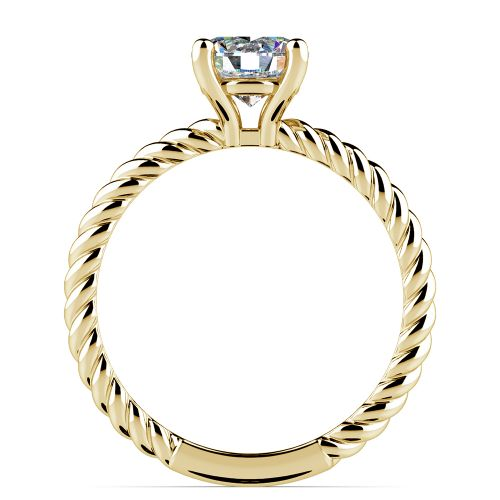 Twisted Rope Solitaire Engagement Ring in Yellow Gold   Image 02