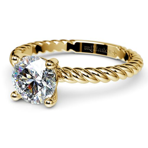 Twisted Rope Solitaire Engagement Ring in Yellow Gold   Image 04