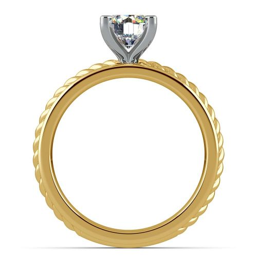 Twisted Rope Solitaire Engagement Ring with Tulip Setting in Yellow Gold