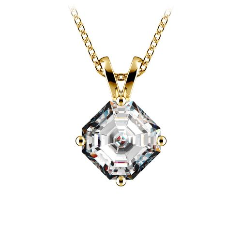 Asscher Diamond Solitaire Pendant in Yellow Gold (1 1/2 ctw)  | Image 01